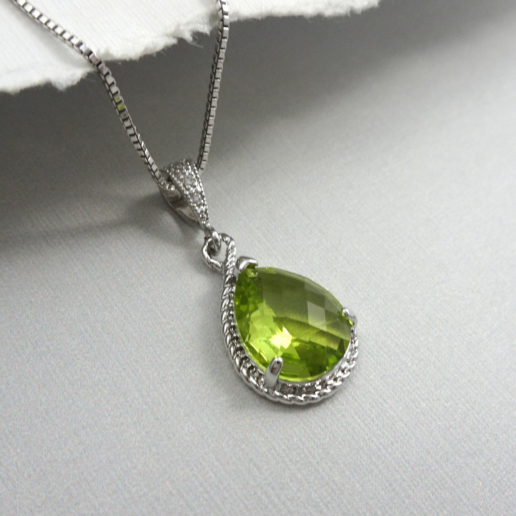 lime green framed glass necklace