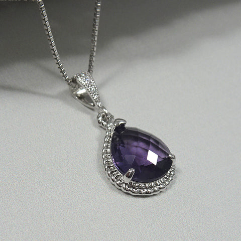 Dark Purple Framed Glass Necklace