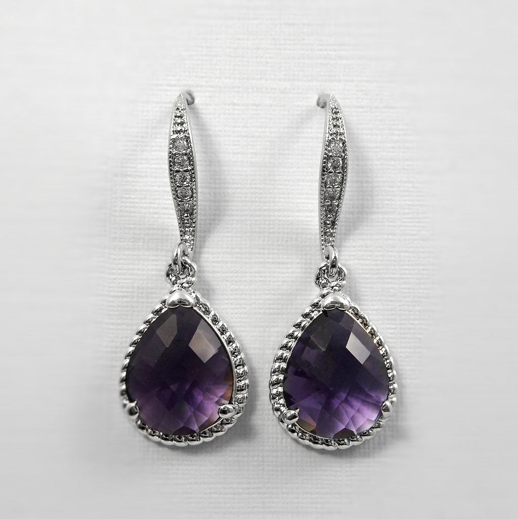 Dark Purple Glass Earrings