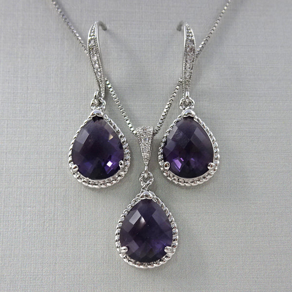 dark purple framed glass necklace and earrings set