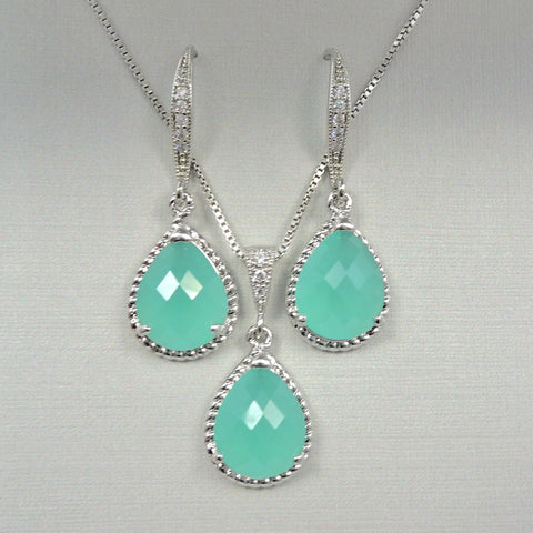 mint green framed glass jewelry necklace and earrings set