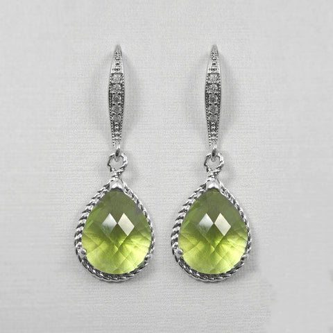 lime green framed glass earrings