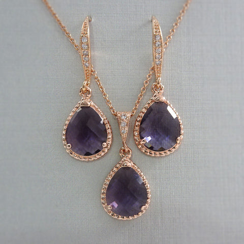 Purple Jewelry Set in Rose Gold Setting