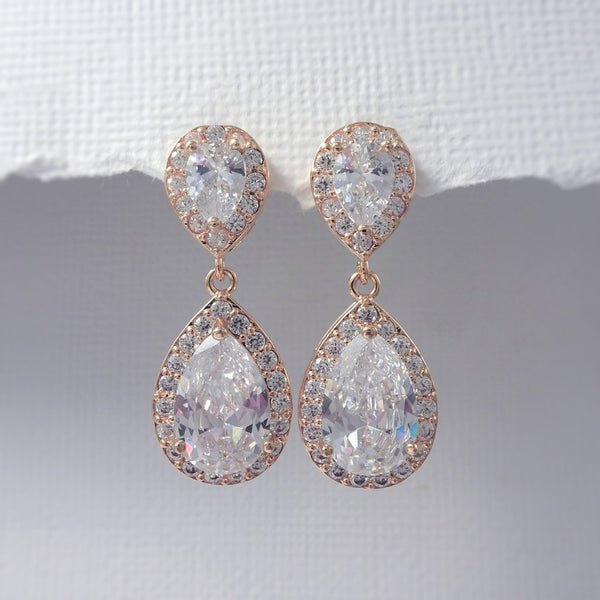 clear cubic zirconia crystal drop earrings in rose gold plated setting