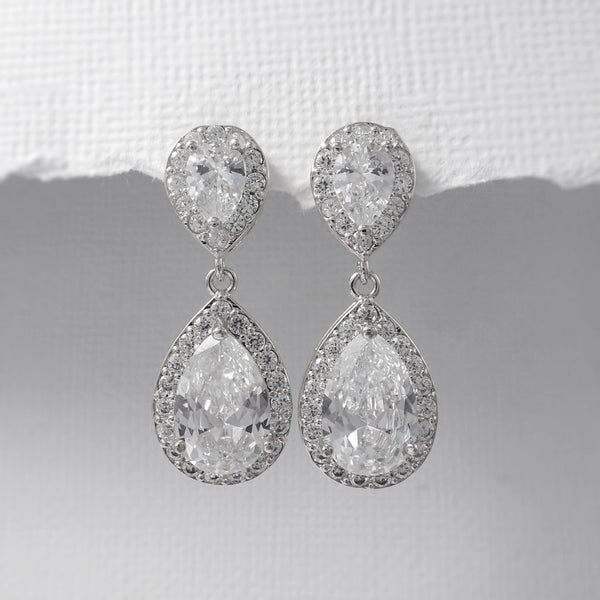 clear cubic zirconia crystal drop earrings