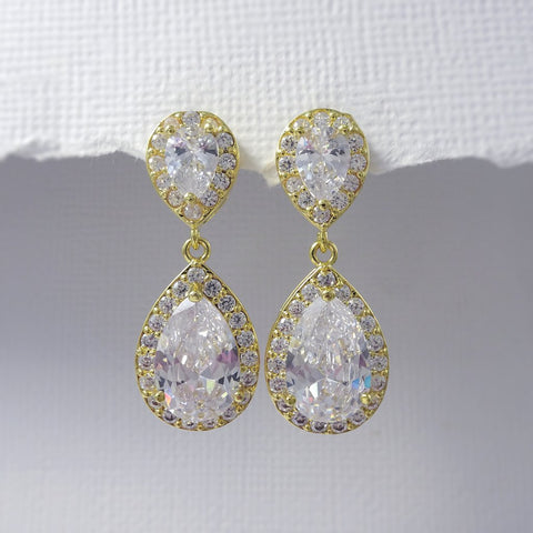 clear cubic zirconia crystal drop earrings in gold plated setting