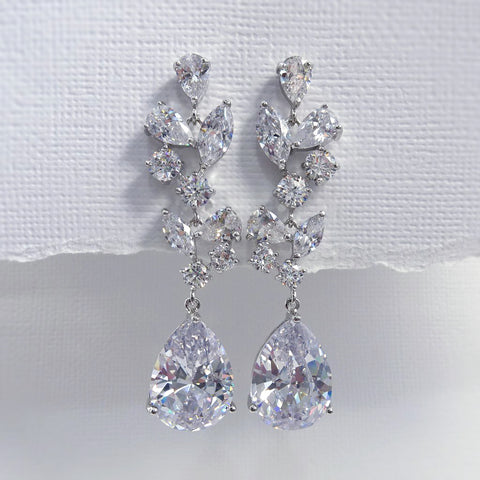 cubic zirconia clear crystal long dangle earrings
