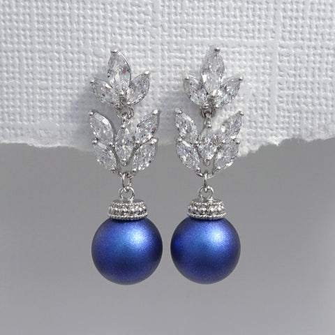 cubic zirconia iridescent blue pearl earrings