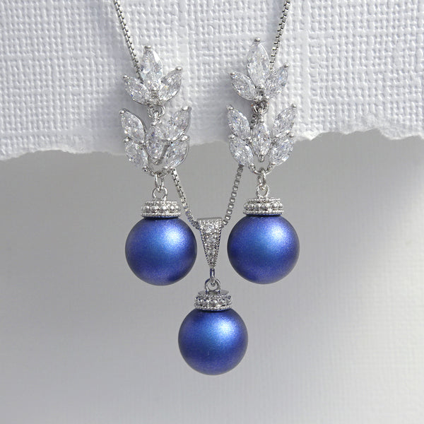 cubic zirconia iridescent blue pearl necklace and earrings set