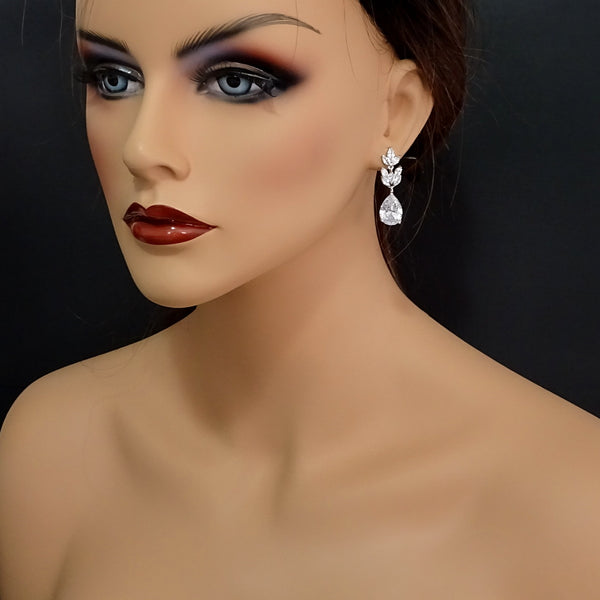 clear cubic zirconia drop crystal earrings on a model mannequin