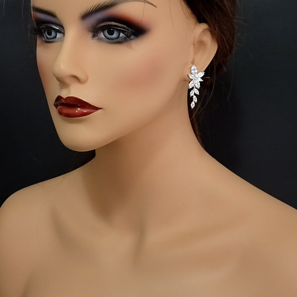 clear cubic zirconia crystal dangle earring on a model mannequin