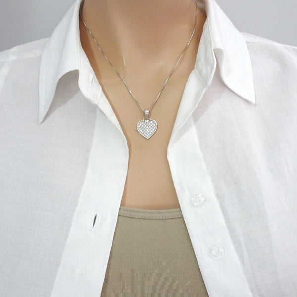 cubic zirconia sterling silver heart necklace on a model mannequin