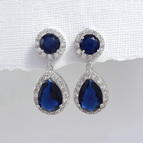 Dark Blue CZ Pear and Round Crystal Stud Dangle Earrings