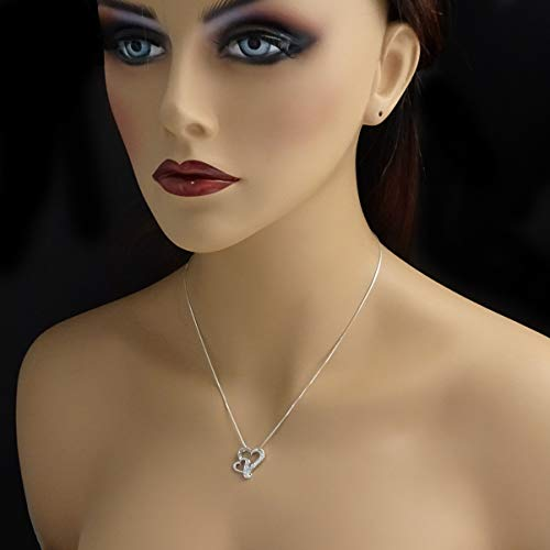 cz double heart necklace on model mannequin