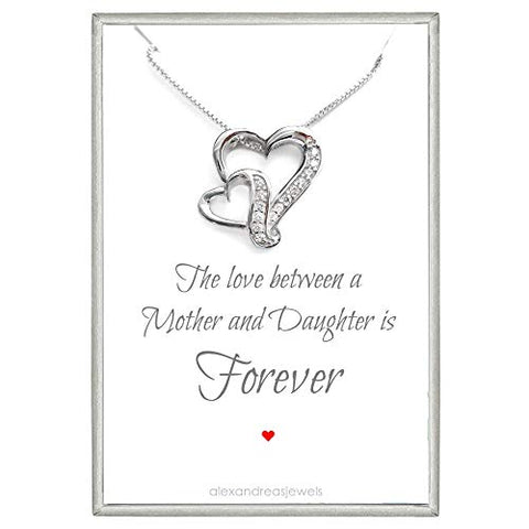 mother and daughter double heart necklace