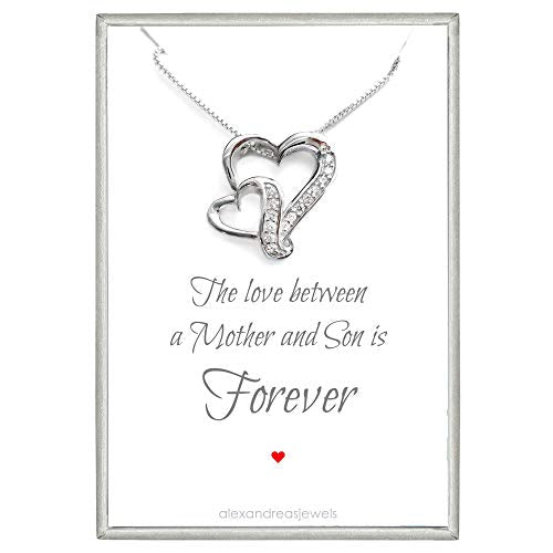 mother and son double heart necklace