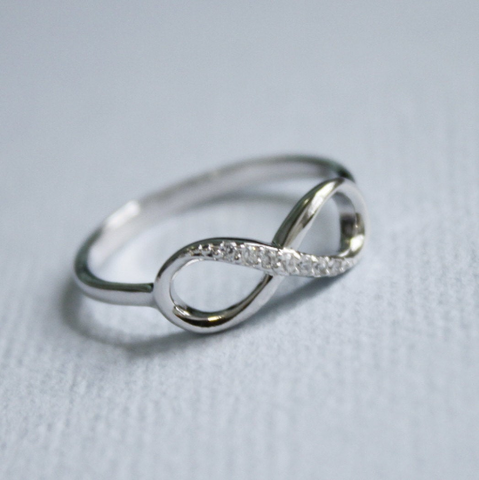 Rhodium Plated Sterling Silver CZ Infinity Ring