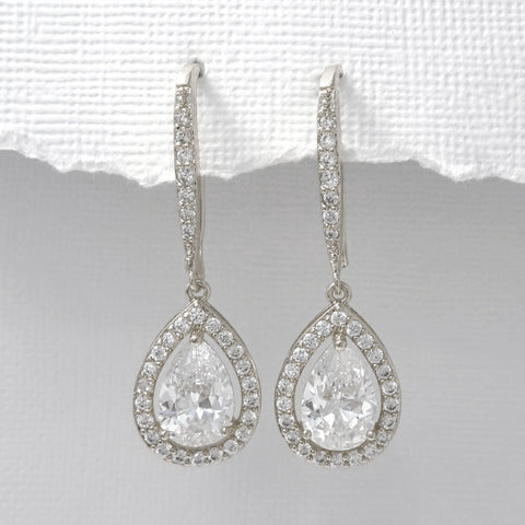 silver drop crystal dangle earrings