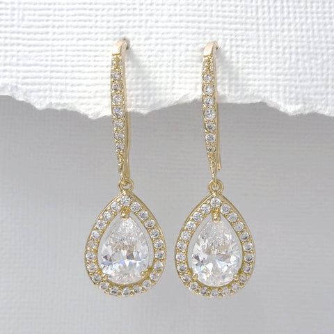 gold drop crystal dangle earrings