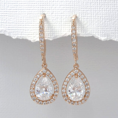 rose gold drop crystal dangle earrings