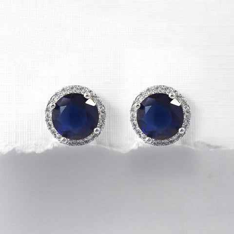 round dark blue cubic zirconia crystal stud earrings