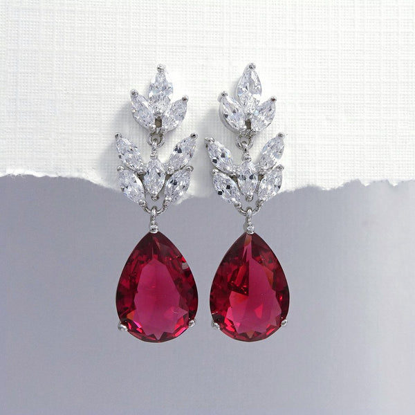 deep fuschia cubic zirconia crystal drop earrings in silver plated setting