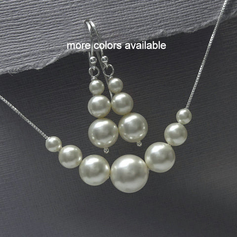 ivory pearl floating pearl necklace and earrings