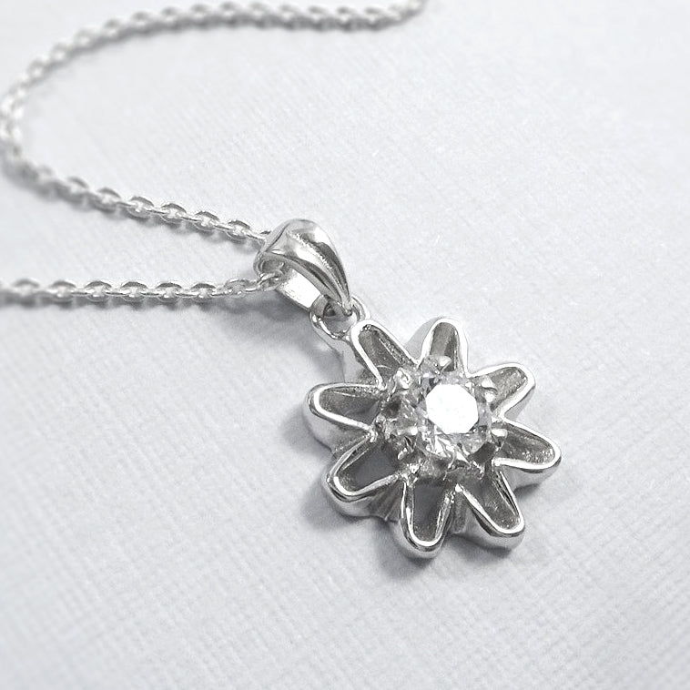 cubic zirconia flower necklace