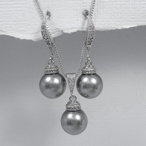 grey pearl necklace and earrings set