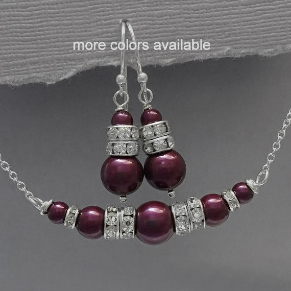 blackberry plum pearl necklace and earrings set
