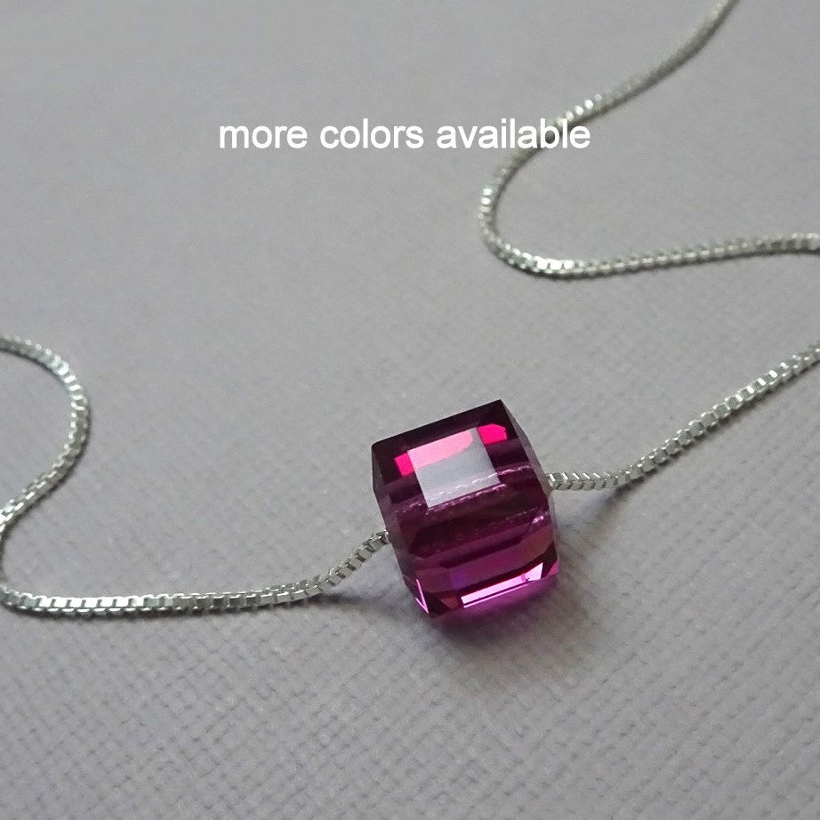 fuschia cube necklace