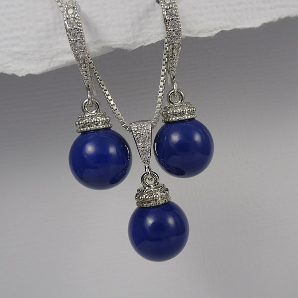 dark blue necklace and earrings set