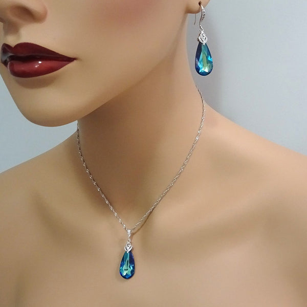 bermuda blue crystal necklace and earrings set on a model mannequin