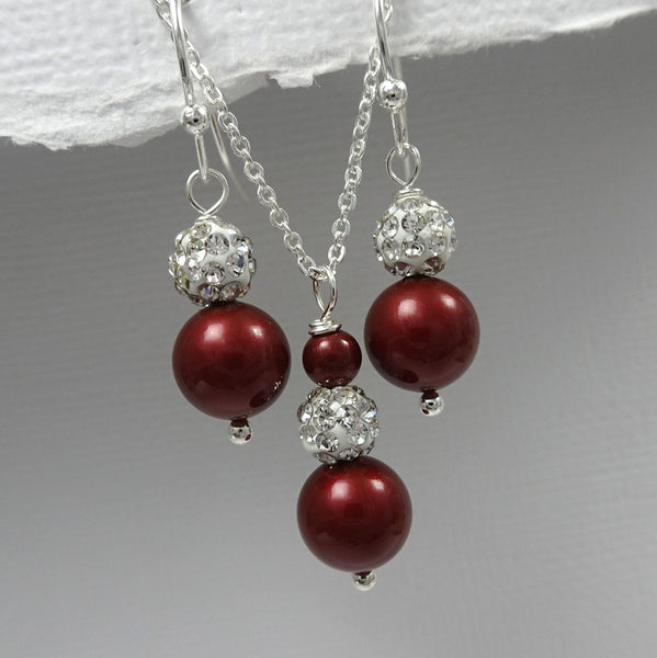wine pearl necklace and earrings set