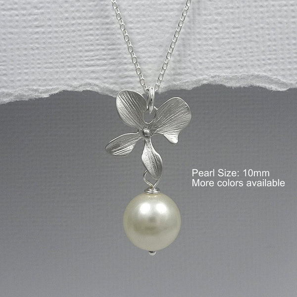 ivory pearl and orchid necklace