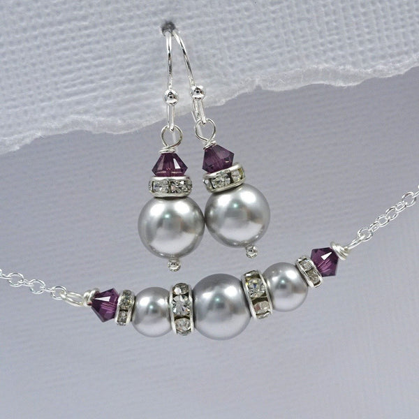 light grey and amethyst crystal necklace and earrings set