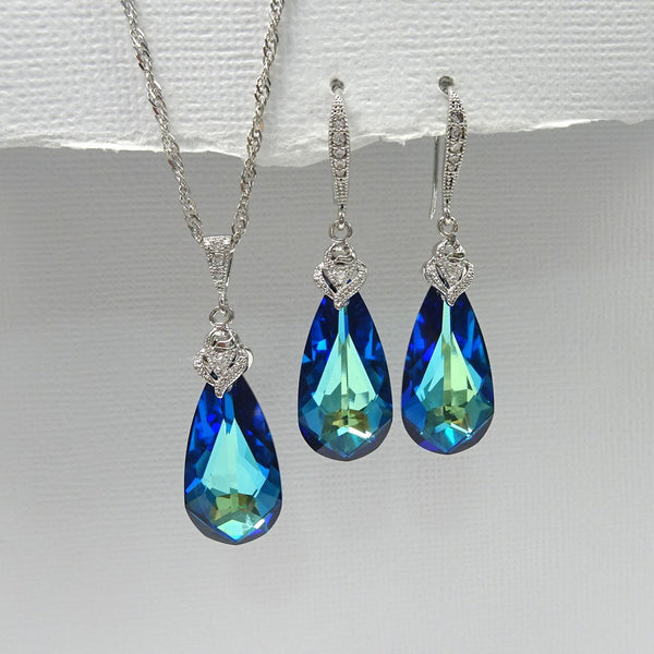 bermuda blue crystal necklace and earrings set