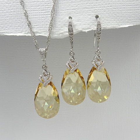 golden shadow crystal necklace and earrings set