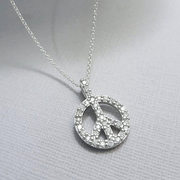 cubic zirconia peace sign necklace