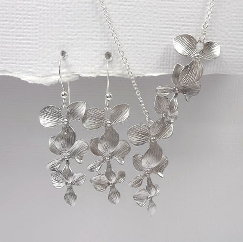 cascade orchid necklace and earrings set