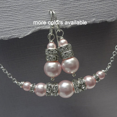 light pink pearl necklace and earrings set