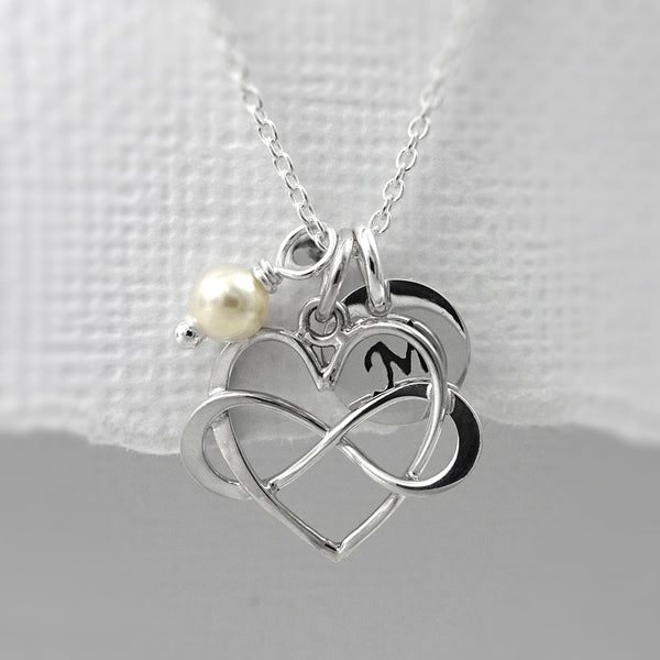 heart infinity necklace with ivory pearl and initial charm