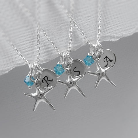 Personalized Sterling Silver Starfish Necklace