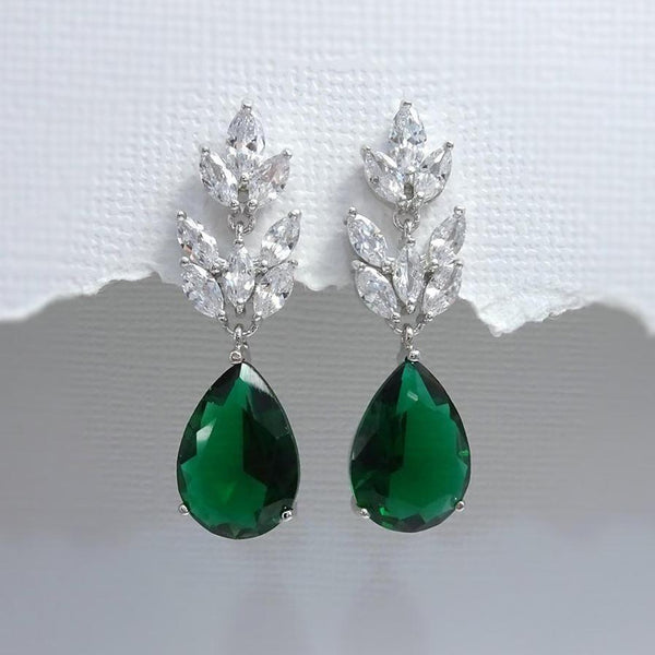 dark green cubic zirconia crystal drop earrings in silver plated setting
