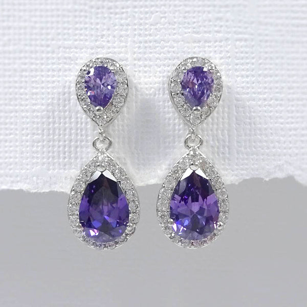 purple cubic zirconia crystal drop earrings in silver plated setting