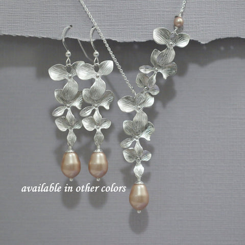triple orchid cascade and champagne pearl necklace and earrings set