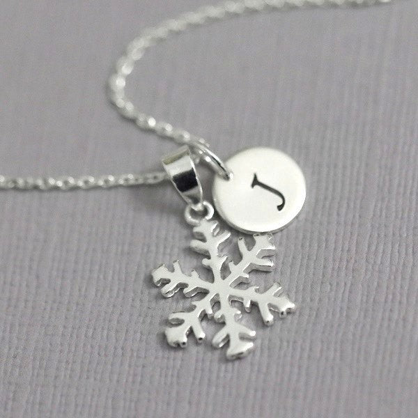 snowflake necklace with initial charm