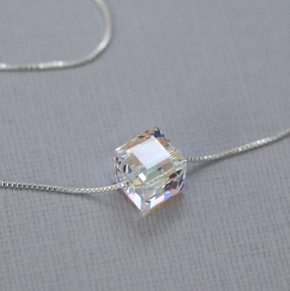 clear crystal cube necklace