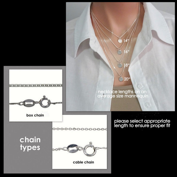 necklace chain type and sizing guide