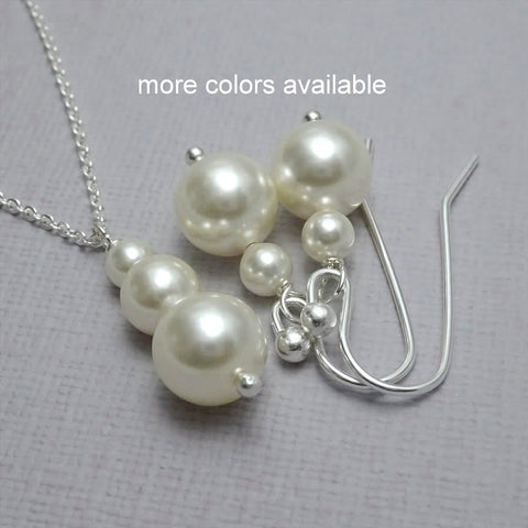 ivory pearl necklace and earrings set